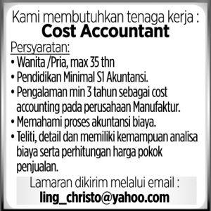 Lowongan Kerja Cost Accountant