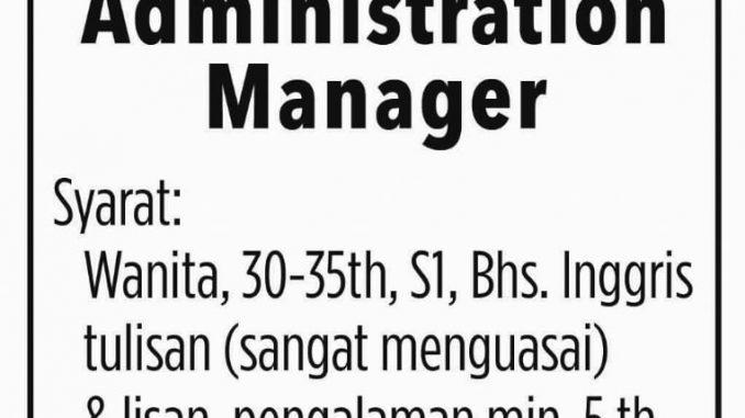 Lowongan Admin Manager