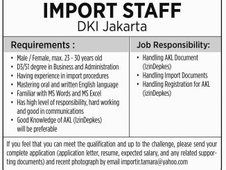 Lowongan Import Staff